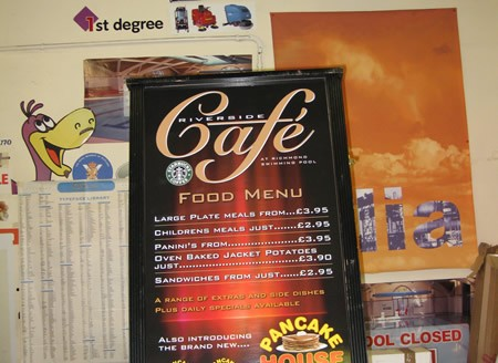 Riverside Cafe A Board Pavement Sign